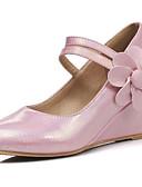baratos Saias Femininas-Mulheres Sapatos Confortáveis Couro Ecológico Verão Saltos Salto Plataforma Branco / Azul / Rosa claro