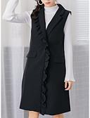 ieftine Palton & Trench de Damă-vesta lungă pentru femei - colorată solidă