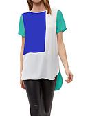 ieftine Tricou-Pentru femei Mărime Plus Size Tricou / Bluză De Bază / Șic Stradă - Bloc Culoare Peteci / Vară