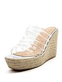 olcso Női kalapok-Női Kényelmes cipők Szintetikus Nyár Szandálok Ék sarkú Fehér / Fekete
