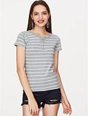preiswerte Hochzeitskleider-Damen Gestreift - Grundlegend Festtage Baumwolle T-shirt, V-Ausschnitt Druck / Sommer / mit feinen Streifen