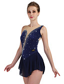 cheap Ice Skating Dresses , Pants & Jackets-Figure Skating Dress Women's / Girls' Ice Skating Dress Navy Blue / Rose Red / Blue High Elasticity Competition Skating Wear Anatomic Design, Handmade Classic / Rhinestone Sleeveless Ice Skating