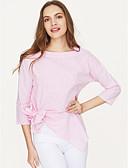 preiswerte Damen zweiteilige Anzüge-Damen Solide - Street Schick Arbeit T-shirt, Hemdkragen Quadratischer Ausschnitt Schleife