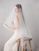 hesapli Gelinlikler-Çift katman Japan and Korea Style Gelin Duvakları Parmak Ucu Başlığı ile Saçak 62.99 inç (160cm) Streç bir ipucu ile pamuk / naylon / Damla şeklinde başlık