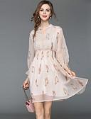 cheap Women's Dresses-Women's Holiday / Going out Street chic / Elegant A Line / Chiffon Dress - Geometric Print High Waist V Neck Spring Beige L XL XXL