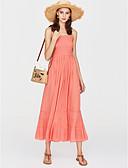 זול שמלות נשים-כתפיה מותניים גבוהים מקסי בסיסי, אחיד - שמלה בתולת ים \חצוצרה כותנה בגדי ריקוד נשים
