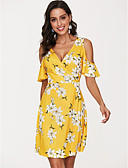 tanie Print Dresses-Damskie Rozmiar plus Podstawowy Bawełna Bufka Zmiana Sukienka - Jendolity kolor / Geometryczny, Frędzel Do kolan Czarno-biały