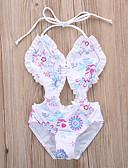 billige Badetøj til piger-Baby Pige Strand Blomstret Blondér / Trykt mønster Uden ærmer Polyester Badetøj Hvid