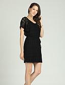 baratos Vestidos Femininos-Mulheres Básico / Elegante Bainha / Vestidinho Preto Vestido - Renda / Cordões, Floral Acima do Joelho