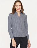 رخيصةأون قمصان نسائية-للمرأة قميص مخطط رقبة V