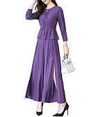 ieftine Costum Damă Două Bucăți-Pentru femei Activ / Sofisticat Set - Geometric / Bloc Culoare, Fustă Plisată / Crăpătură