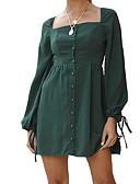 tanie Koszula-Damskie Podstawowy Szczupła Pochwa Sukienka - Solidne kolory Dekolt w kształcie litery U Mini / Jesień