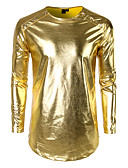cheap Historical & Vintage Costumes-Men's Club Street chic / Punk & Gothic T-shirt - Solid Colored Round Neck Gold L / Long Sleeve