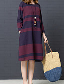 cheap Casual Dresses-Women's Daily Basic Shirt Dress - Solid Colored / Striped Fall Black Red L XL XXL