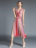 povoljno Ženske haljine-Žene Izlasci Vintage / Sofisticirano Slim A kroj Haljina Prugasti uzorak Midi Visoki struk