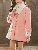 お買い得  女児ジャケット&コート-子供 女の子 ストリートファッション 日常 お出かけ ソリッド パッチワーク 長袖 ロング スーツ&ブレザー ルビーレッド