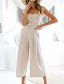 povoljno Ženski jednodijelni kostimi-Žene Dnevno / Izlasci S naramenicama Bež Wide Leg Jumpsuits, Jednobojni M L XL Bez rukávů