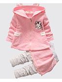 Χαμηλού Κόστους Βρεφικά σετ ρούχων-Μωρό Κοριτσίστικα Βασικό Καθημερινά Μονόχρωμο / Στάμπα Μακρυμάνικο Κανονικό Βαμβάκι Σετ Ρούχων Ανθισμένο Ροζ / Νήπιο