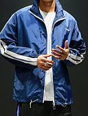 זול גברים-ג'קטים ומעילים-קולור בלוק / אותיות עם קפוצ'ון ספורט ג'קט - בגדי ריקוד גברים / שרוול ארוך