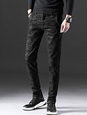ieftine Print Dresses-Bărbați Zvelt Blugi Pantaloni - Mată Negru