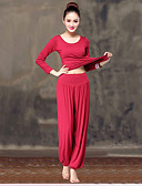 cheap Party Dresses-Women's Scoop Neck Harem Yoga Suit Sports Solid Color Modal Elastane High Rise Pants / Trousers Top Clothing Suit Zumba Yoga Dance Long Sleeve Plus Size Activewear Lightweight Breathable / Stretchy