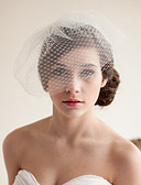 cheap Wedding Veils-Two-tier Vintage Style / Classic Style Wedding Veil Blusher Veils with Solid Tulle