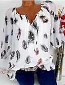 billige Skjorter til damer-Løstsittende V-hals Store størrelser Skjorte Dame - Geometrisk Grønn