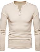 billige Hettegensere og gensere til herrer-V-hals T-skjorte Herre - Ensfarget / Langermet