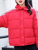 povoljno Traper jakne-Žene Dnevno Osnovni Mašna Jednobojni Veći konfekcijski brojevi Normalne dužine Jakna od perja, Pamuk / Poliester Dugih rukava Zima S kapuljačom Crn / Red / Bijela XL / XXL / XXXL