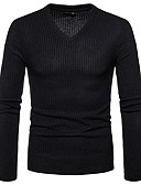 お買い得  メンズTシャツ&タンクトップ-男性用 Tシャツ ベーシック Vネック スリム ソリッド コットン / 長袖