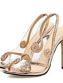 povoljno Ženski jednodijelni kostimi-Žene Prozirne cipele PVC Ljeto slatko Sandale Stiletto potpetica Peep Toe Šljokice Srebro / Svjetlosmeđ / Zabava i večer / Vjenčanje / Zabava i večer