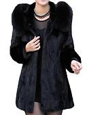 povoljno Ženske kaputi od kože i umjetne kože-Žene Izlasci Osnovni Dug Krzneni kaput, Jednobojni Preklapajućih Collar Dugih rukava Poliester Crn