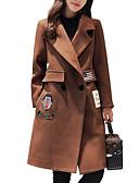 cheap Women's Coats & Trench Coats-Women's Daily Long Coat, Letter Shirt Collar Long Sleeve Polyester Brown / Navy Blue
