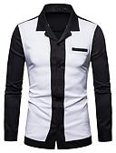 billige Herreskjorter-Skjorte Herre - Ensfarget / Fargeblokk, Lapper Forretning / Grunnleggende