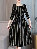 billige Bryllupskjoler-Dame Gatemote / Elegant Skjede Kjole - Stripet, Blondér / Trykt mønster Midi
