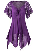 cheap Women's T-shirts-Women's Daily Plus Size T-shirt - Solid Colored / Floral V Neck Black XXXL