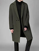 cheap Men's Jackets & Coats-Men's Going out Spring &  Fall / Winter Long Coat, Solid Colored Fantastic Beasts Fold-over Collar Long Sleeve Polyester Black / Navy Blue / Army Green L / XL / XXL