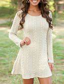 זול שמלות מיני-לבן מיני אחיד - שמלה סריגים בסיסי בגדי ריקוד נשים