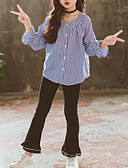 cheap Leggings-Kids Girls' Striped / Patchwork Long Sleeve Clothing Set