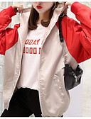 ieftine Paltoane Trench Femei-Pentru femei Zilnic Regular Haină Trench, Creative Capișon Manșon Lung Nailon Negru / Roșu-aprins L / XL / XXL