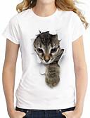 ieftine Tricou-Pentru femei Mărime Plus Size Tricou Bumbac De Bază / Șic Stradă - Animal Denim Pisica / Vară