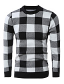 cheap Men's Sweaters & Cardigans-men's long sleeve pullover - check round neck