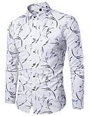 abordables Camisas de Hombre-Hombre Básico / Chic de Calle Algodón Camisa Delgado Geométrico Blanco XXXL / Escote Chino / Manga Larga / Otoño