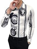 baratos Camisetas & Regatas Masculinas-Homens Camisa Social - Trabalho Vintage Estampado Colarinho Clássico Delgado / Manga Longa / Outono / Inverno