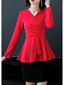 billige Dametrusser-Dame - Ensfarvet Drapering / Flettet Forretning / Basale T-shirt