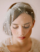 cheap Wedding Veils-One-tier Vintage Style / Classic Style Wedding Veil Blusher Veils with Faux Pearl / Solid Tulle