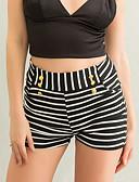 ieftine Pantaloni de Damă-Pentru femei Subțire Pantaloni Scurți Pantaloni - Dungi Alb