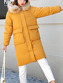 cheap Women's Down & Parkas-Women's Going out Color Block Long Parka, Polyester Long Sleeve Hooded Black / Gray / Yellow XL / XXL / XXXL