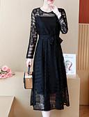 preiswerte Kleider in Übergröße-Damen Hülle Kleid Solide Midi Hohe Taillenlinie