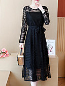 cheap Plus Size Dresses-Women's Sheath Dress - Solid Colored High Waist
